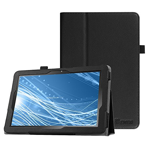 Fintie Case for Insignia Flex 10.1 Inch Tablet NS-P10A7100/NS-P10A8100, Slim Fit Premium Vegan Leather Folio Cover with Stylus Holder, Black