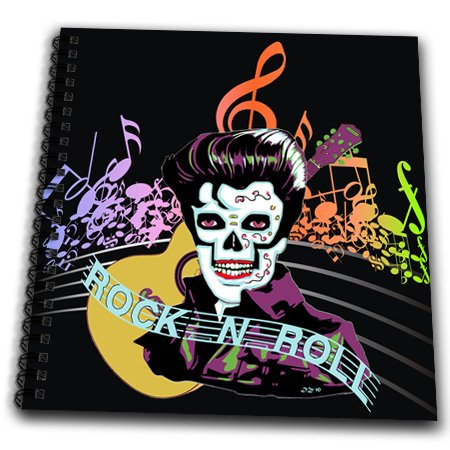 db_18914_2 Dezine01 Graphics Rock and Roll - Rock and Roll Skull Elvis - Drawing Book - Memory Book 12 x 12 inch