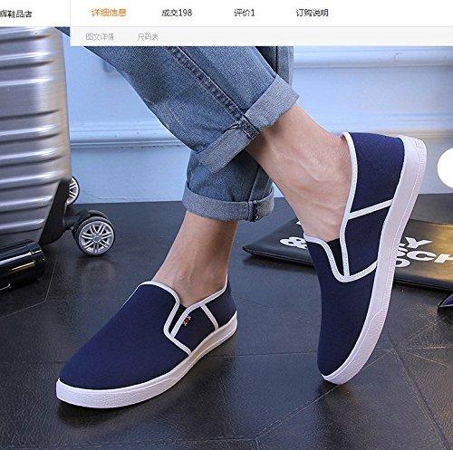 (Taglia 40 adatta ad un piede di 24,5cm di lunghezza) Scarpe Sportive Da Uomo In Tela Senza Lacci Colori a Scelta (BLU) - LXL-034