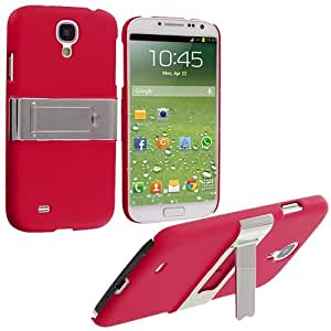 Accessory Planet(TM) Red Hard Snap-On Rubberized Chrome Stand Case Cover for Samsung Galaxy S4