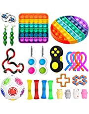 KKPLZZ Fidget Toy Set, Stress Relief Fidget Toys Pack,Sensory Fidget Toys Pack for Kids Adults Fidget Kit with Rainbow Pop Sensory Toy for ADHD