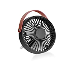 Desk USB Fan, Personal Table Fan, Mini Cooling Fan, Small Desk Fan, Quiet Office Fan with Enhanced Airflow, Lower Noise, Fashion Design, USB Powered with Lether Handle