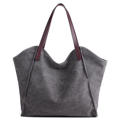 ParaCity Shopper Bag Girls Handbag Bag Vintage Brown SIMPLE Women Totes Style Canvas Simple Women's Students SIMPLE Hobo Shoulder Gray For rgqS0zrW