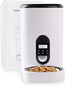 TAUSFILAAutomatic Cat Feeder, 4L Auto Dry Food Dispenser with Manual Feeding Functionfor Naughty Pet, Up to 80Portion Control 4Meals Daily for Small/Medium Pets