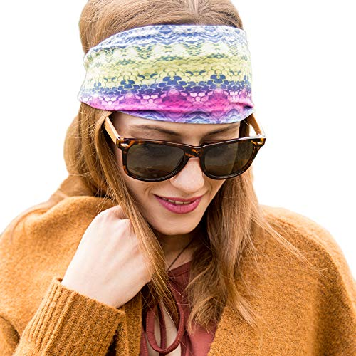 Violet Love Womens Yoga Headbands - Star Signs Fashion Print Pattern Couture Headband, Best Non-Slip Sport Headbands for Women, Girls, Men, Walking, Exercise, Running, Gym, Sports, Athletics - Cancer by Violet Love