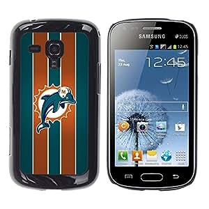 Miami Dolphin - Metal de aluminio y de plástico duro Caja del teléfono - Negro - Samsung Galaxy S Duos S7562