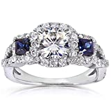 Product review for Forever One (D-F) Moissanite Sapphire and Diamond Engagement Ring 2 CTW in Platinum