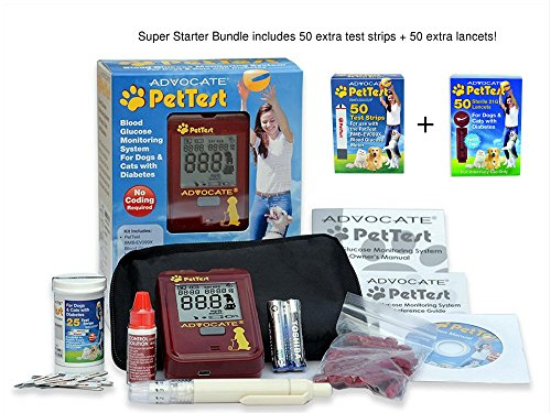 PetTest (Super Starter Bundle) Advocate Monitoring Glucose Levels - Diabetes Testing Tools - Calibrated for Pets