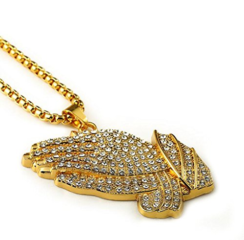 Gudeke Diamants Mode Hommes plaqué or Big Buddha Colliers Hip Hop avec 75cm Chain