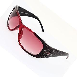 Lens Sunglasses complet en plastique rouge foncé Rim unique pont dégradé pour les femmes