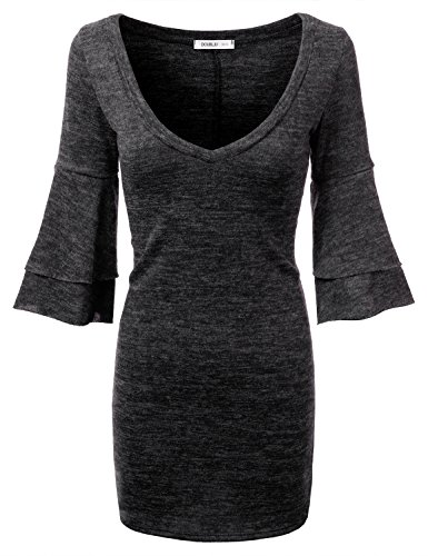 Doublju-Womens-Deep-V-Neck-34-Bell-Sleeve-Sweater-Dress