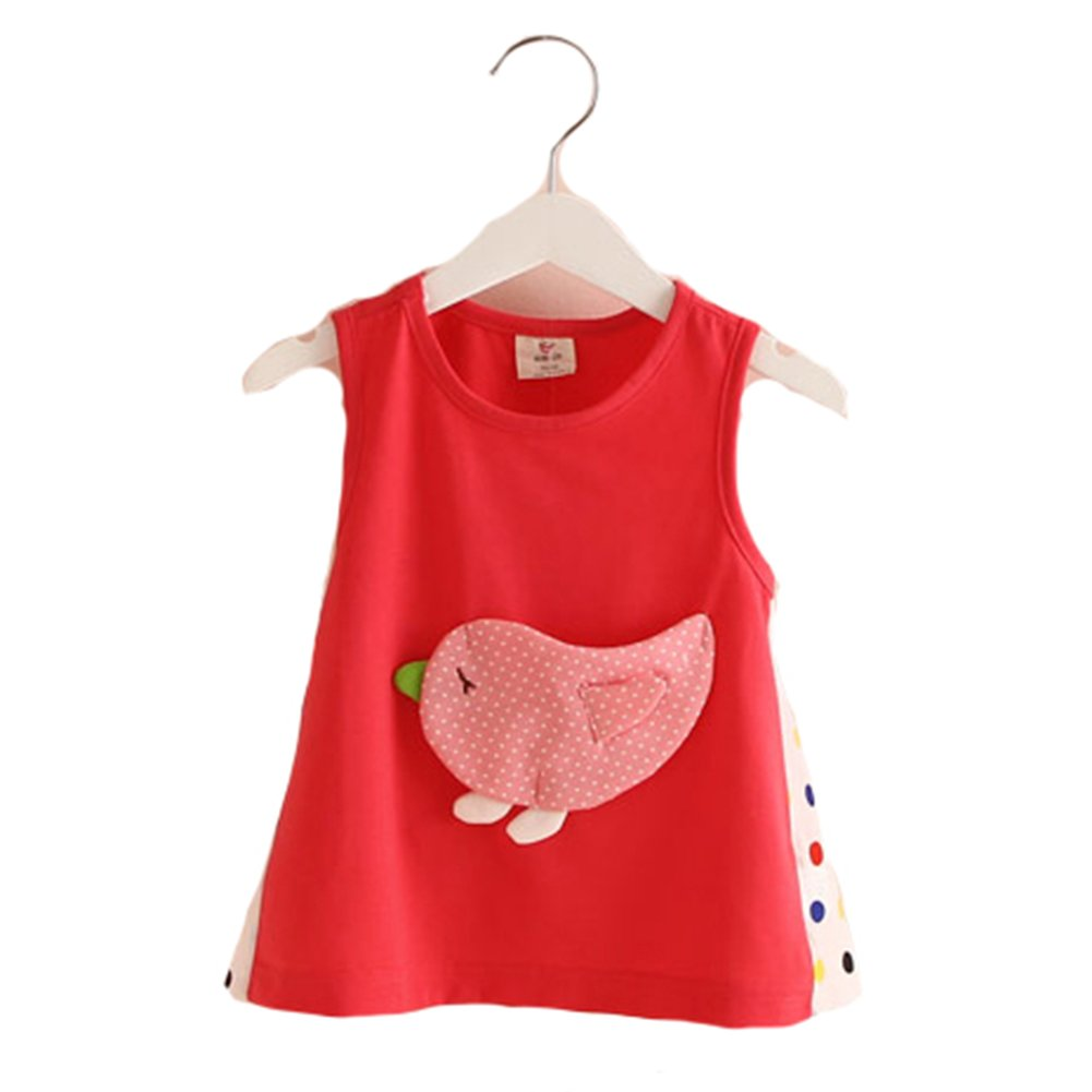 Motecity Fashion Little Girls' Printed Sleeveless T-Shirt