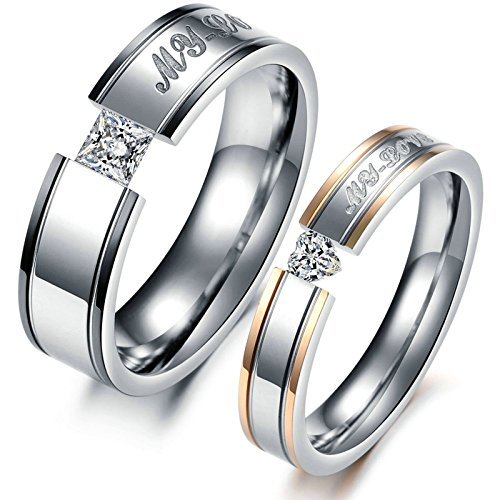 ANAZOZ 2PCS Ring Set My Love Stainless Steel Plain Band Silver Rings for Engagement Women Size 6 & Men Size 8