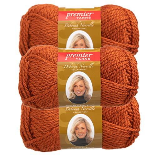 Premier Yarns (3 Pack Deborah Norville Serenity 100% Acrylic Soft Rust Orange Yarn for Knitting Crocheting Chunky #5