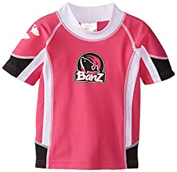 Baby Banz Baby Girls\' Chlorine Resistant Short Sleeve Rash Top, Pink/Black, 6-12 Months