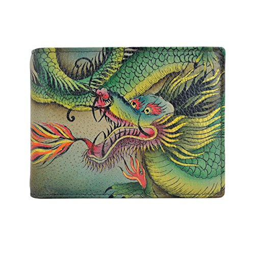 Anna by Anuschka Hand Painted Leather | RFID Blocking Two Fold Wallet/Clutch | Hidden Dragon