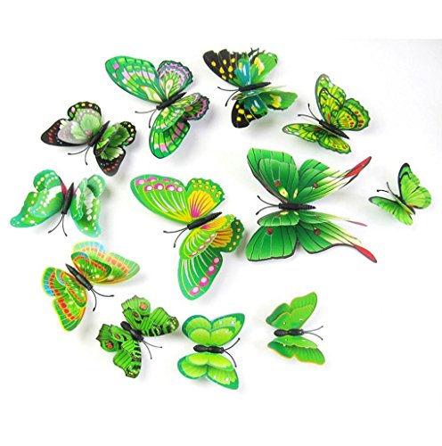 12Pcs 3D Butterfly Magnet Wall Stickers Vovotrade® Thanksgiving Christmas (Green)