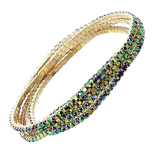 (Classic Elegant Crystal Stone Jewelry Bracelet Lapis Lazuli Stretch Bracelet Elastic Gorgeous Rhinestone Bracelet Set Bracelets Antique Copper Plated)