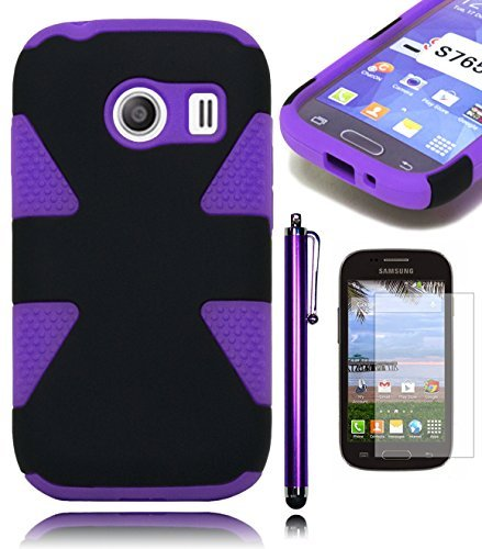 Bastex Heavy Duty Hybrid Dynamic Case - Black Design Cover with Purple Silicone Shell for Samsung Galaxy Ace Style S765C**INCLUDES SCREEN PROTECTOR AND STYLUS**