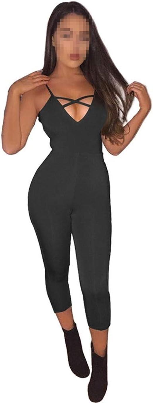 YOKA Vestido de mujer Deep V Cross Sexy Jumpsuit 4 colores 4 ...
