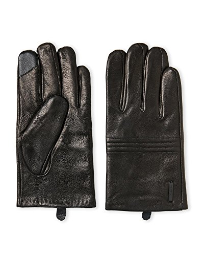 Calvin Klein Leather Basic Quilted Knuckle Winter Touchscreen Gloves Black XL (Leather Quilted Black Gloves)