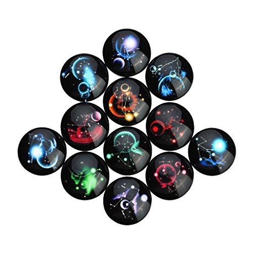 MagiDeal 20 Pieces 12 Constellations DIY Mix Black Glass Cabochons Dome Flat Back Embellishment Beads Pendant Ring Jewelry DIY - Mixed, 10mmx10mm 10mm Round Cabochon Pendant