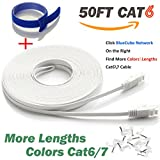 BlueCube Network 50-Feet CAT6 Flat Cable with Snagless RJ45 Connectors, White
