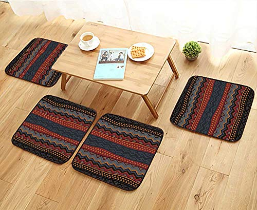 Hampton Slipcover - Elastic Cushions Chairs Boho Style Seamless Pattern Hand Drawn Aztec Wallpaper for Living Rooms W29.5 x L29.5/4PCS Set