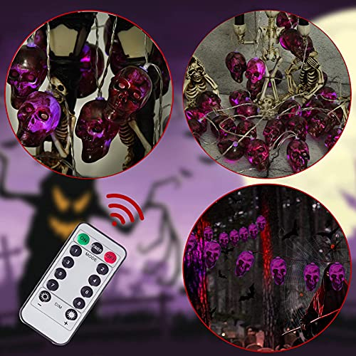 Halloween Decorations,Halloween Skull Light String Decoration, Battery Operated Lights String Wireless Remote Control 30 LED Lights Dust-Proof and Waterproof Design, Halloween Party Decoration.