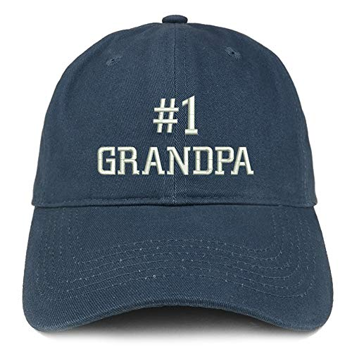 Number Grandpa - Trendy Apparel Shop Number 1 Grandpa Embroidered Soft Crown 100% Brushed Cotton Cap - Navy