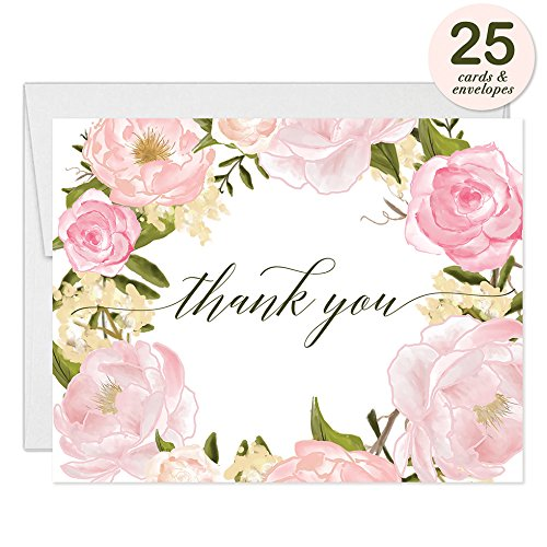 Lovely Pink Peonies Wreath Thank You Cards with Envelopes ( Pack of 25 ) Beautiful Buds Thanks Birthday Baby Bridal Shower Baptism Christening Thank You Notes Excellent Value Gracias Notecards VT0046B (Wreath Flat Card)
