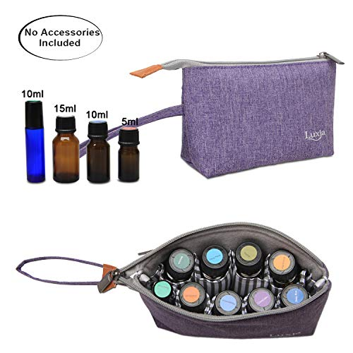 LUXJA Essential Oil Carrying Bag - Holds 8 Bottles (5ml-15ml, Also Fits for Roller Bottles), Portable Organizer for Essential Oil and Small Accessories, Purple