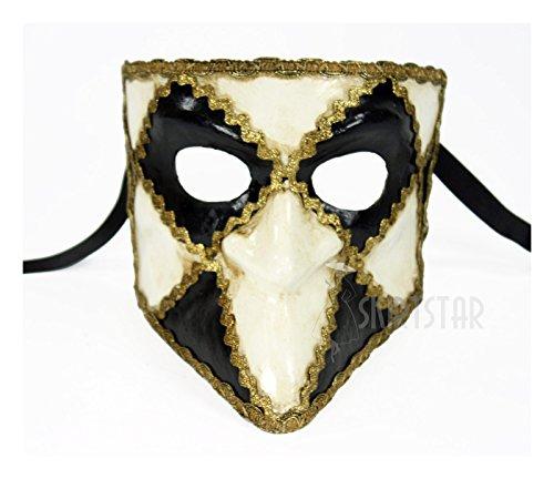 Italian Made Venetian Bauta Mask Full Face Black/White (Black/White) (Mask Carnival Italian)