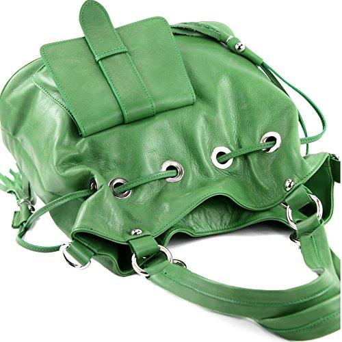 modamoda de - ital. Ledertasche Damentasche Handtasche Schultertasche Nappaleder DS53 Grün