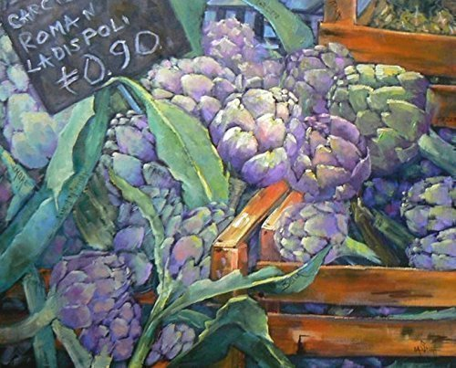 Vegetable Life Still - Giclee Print on Canvas Artichoke Painting Still Life Vegetables Choose Your Size Ready to Hang