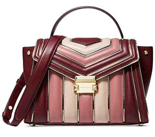 (MICHAEL Michael Kors Whitney Quilted Leather Tricolor Top Handle Satchel Bag, Oxblood Pink Gold)