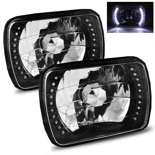 (ModifyStreet 7x6 H6014/H6052/H6054 Black Crystal Headlights Lamps Conversion with White LED Ring)