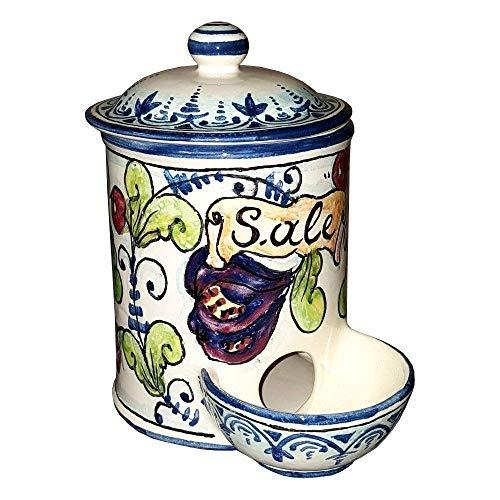 (CERAMICHE D'ARTE PARRINI- Italian Ceramic Jar Salt Holder Hand Painted Made in ITALY Tuscan Art Pottery)