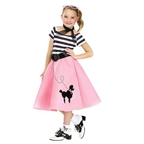 2e61b31b86 Amazon.com: 50's Soda Shop Sweetie Child Poodle Skirt Costume  Multicolor/Large (12-14): Toys & Games
