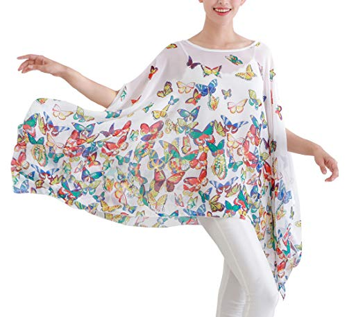 Max Hsuan Women's Loose Solid Sheer Chiffon Caftan Poncho Batwing Tunic Top Blouse Summer Oversized Shirts (White Butterflies) -