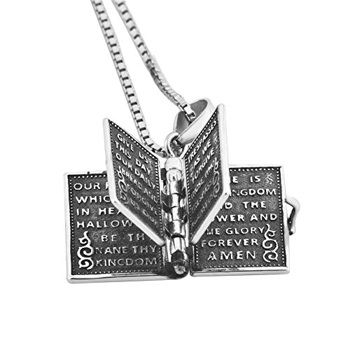 Corykeyes 925 Sterling Silver Cross Openable 3D Holy Bible Book Lords Prayer Pendant Necklace