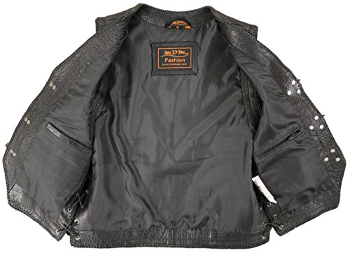 Mens Cuir En Biker Style Croco Veste Noir Véritable Gilet ZwZarx