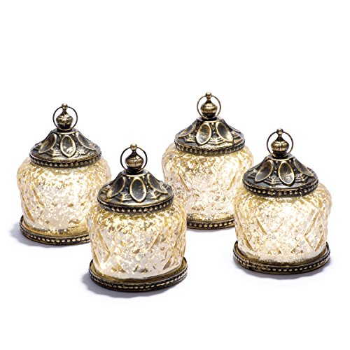 Mini Gold Mercury Glass Lanterns - Set of 4, Warm White LED Lights, 4