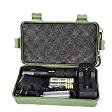 Compia 6000 Lumen 100,000 hours Lifespan Multifunctional Waterproof Zoomable LED Keychain Flashlight+18650 Battery x 2+Battery charger+18650 Battery Holder+Keychain+Box,Keychain flashlight for Self Safety, Hunting, Cycling, Climbing, Camping, Travelling and Outdoor Activities (XM T6)
