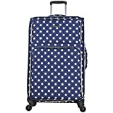 "Heritage Travelware Women's 28"" Polka Dot Printed 600d Polyester Expandable 4-Wheel Checked Luggage, Navy Review"