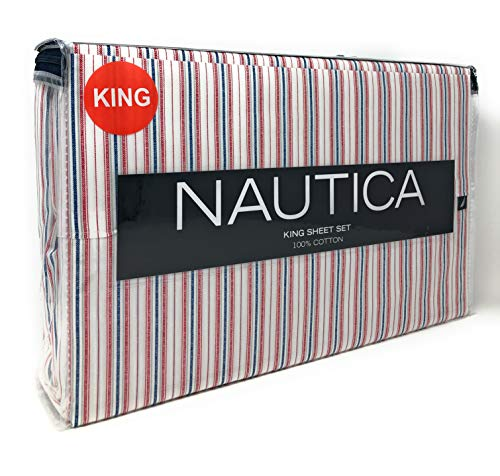 Nautica Red/White/Navy Flotilla Lines/Stripes 4-PC King Size Sheet Set (100% Cotton) White Background
