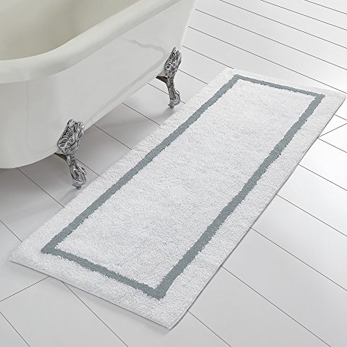 Bath Runner (Amrapur Overseas Reversible Contrast Stripe Bath Runner (22-inch by 60-inch), Silver)