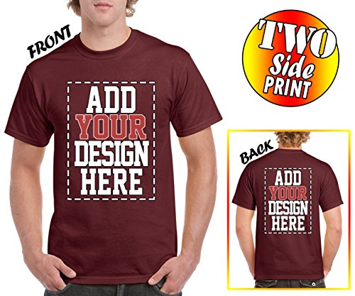 Custom 2 Sided T-Shirts - Design Your OWN Shirt - Front and Back Printing on Shirts - Add Your Image Photo Logo Text - Heat T-shirt Custom