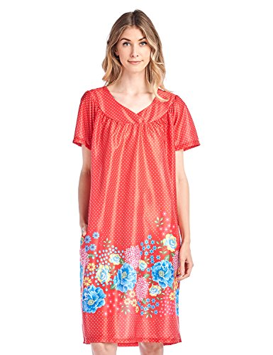 f9b28f89cc8c Casual Nights Women's Short Sleeve Muumuu Lounger Dress - Red - X-Large