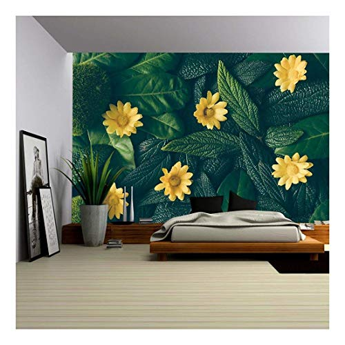 wall26 - Creative Layout Made of Green Leaves and White Flower. Flat Lay. Nature Concept - Removable Wall Mural | Self-Adhesive Large Wallpaper - 66x96 inches